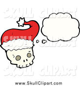 Vector Clip Art of a Thinking Christmas Skull Wearing a Santa Hat by Lineartestpilot