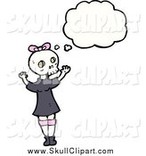 Vector Clip Art of a Thinking Girl Wearing a Skull Mask by Lineartestpilot