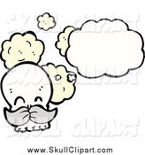 Vector Clip Art of a Thinking Human Skull with a Gray Mustache by Lineartestpilot