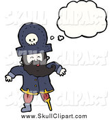 Vector Clip Art of a Thinking Pirate with a Wooden Leg by Lineartestpilot