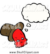 Vector Clip Art of a Thinking Red Skull with a Hat by Lineartestpilot