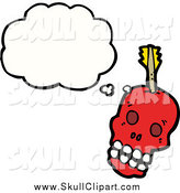 February 28th, 2015: Vector Clip Art of a Thinking Red Skull with an Arrow by Lineartestpilot