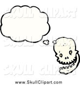 Vector Clip Art of a Thinking Skull by Lineartestpilot