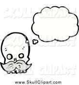 Vector Clip Art of a Thinking Skull with a Mustache and Balloon by Lineartestpilot