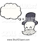 Vector Clip Art of a Thinking Skull with a Mustache and Wearing a Top Hat by Lineartestpilot