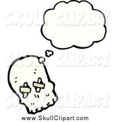 April 9th, 2015: Vector Clip Art of a Thinking Skull with Bandages over His Eye Sockets by Lineartestpilot