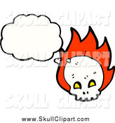 Vector Clip Art of a Thinking White Skull and Flames by Lineartestpilot