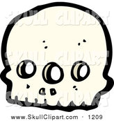 Vector Clip Art of a Three Eyed Alien Skull by Lineartestpilot