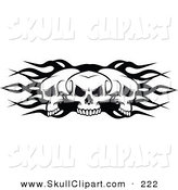 Vector Clip Art of a Three Grouped Flaming Skulls by Vector Tradition SM