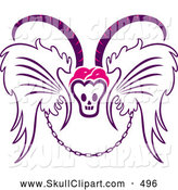 Vector Clip Art of a till Death Do Us Part Emblem of Wings Chain and Horned Skull, on White by Cherie Reve