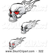 Vector Clip Art of a Trio of Flaming Skulls by Vector Tradition SM