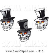 Vector Clip Art of a Trio of Skulls Wearing Top Hats on Halloween by Vector Tradition SM