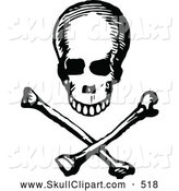 Vector Clip Art of a Vintage Black and White Skull and Cross Bones Design by Prawny Vintage