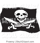 Vector Clip Art of a Waving Black and White Jolly Roger Pirate Flag by Prawny