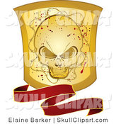 Vector Clip Art of a Wavy Red Banner with a Grunge Gold Skull Shield on White by Elaineitalia