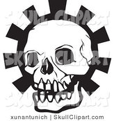 Vector Clip Art of a White and Black Human Skull Head over a Gear by Xunantunich
