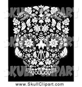 Vector Clip Art of a White Day of the Dead Skull over Black by Lineartestpilot