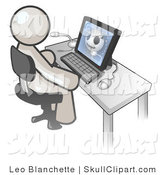 Vector Clip Art of a White Doctor Man Sitting in Front of a Computer and Viewing an Xray of a Head by Leo Blanchette