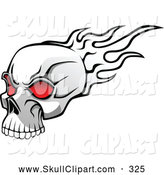 Vector Clip Art of a White Flaming Skull with Red Eye Sockets by Vector Tradition SM