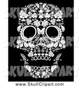 Vector Clip Art of a White Flowered Day of the Dead Skull on Black by Lineartestpilot