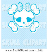 Vector Clip Art of a White Girly Skull with a Bow on Blue by Pushkin