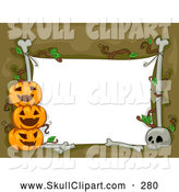 Vector Clip Art of a White Halloween Sign with Bones and Cheerful Jack O Lanterns by BNP Design Studio