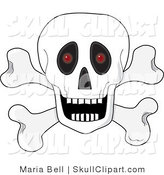 Vector Clip Art of a White Human Skull over Crossbones, with an Open Mouth and Red Glowing Eyes Set Back in the Sockets by Maria Bell