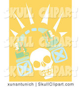 Vector Clip Art of a White Human Skull with a Tribal Arch on a Yellow Background by Xunantunich