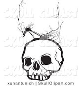 Vector Clip Art of a White Human Skull with Crack Marks by Xunantunich