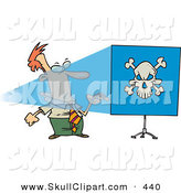 Vector Clip Art of a White Man Turning a Projector on and Seeing a Skull on a Blue Screen by Toonaday