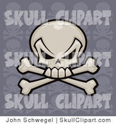 Vector Clip Art of a White Skull and Crossbones with a Repeat Pattern Purple Background by John Schwegel