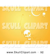 Vector Clip Art of a White Skull and Moon on an Orange Halloween Background by Xunantunich
