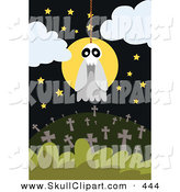 Vector Clip Art of a White Skull Ghost Hanging from a Noose over a Cemetery by Mayawizard101