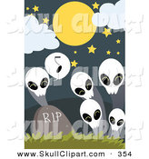 Vector Clip Art of a White Skull Ghost Singing to Others by a Tombstone by Mayawizard101