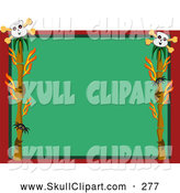 Vector Clip Art of a White Skull Spider and Branch Frame Around Green and Red by Bpearth