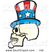 Vector Clip Art of a White Uncle Sam Skull Wearing a Hat by Snowy