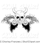 Vector Clip Art of a White Viking Skull with Feathered Wings by C Charley-Franzwa