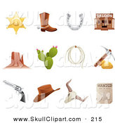 Vector Clip Art of a Wild Old Western Icons Digital Collage by TA Images