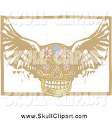 Vector Clip Art of a Winged Day of the Dead Skull by Xunantunich