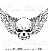 Vector Clip Art of a Winged Skull Outline by Vector Tradition SM