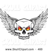 Vector Clip Art of a Winged Skull with Fiery Eyes Looking Forward by Vector Tradition SM