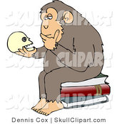 "Vector Clip Art of a Wise Monkey Holding and Gazing at a Human Skull, Contemplating His Own Existence, a Parody of Hugo Rheinhold's ""Philosophizing Ape"" Sculpture That Was Created in 1892 by Djart"