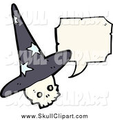 Vector Clip Art of a Wizard Skull Talking by Lineartestpilot