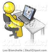 Vector Clip Art of a Yellow Doctor Man Sitting in Front of a Computer and Viewing an Xray of a Head by Leo Blanchette