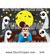 Vector Clip Art of a Yellow Full Moon and Bats over a Scared Man with Ghosts in a Cemetery by Mayawizard101