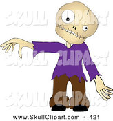 Vector Clip Art of a Zombie Boy Wearing a Purple Shirt, Holding out an Arm on White by Pams Clipart