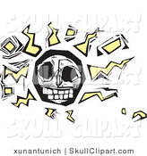 Vector Clip Art of an Abstract White Human Skull with Yellow Squiggles and Cubes by Xunantunich
