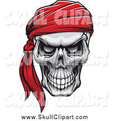 Vector Clip Art of an Evil Human Skull with a Red Bandana by Vector Tradition SM