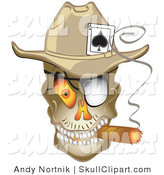 Vector Clip Art of an Evil Skeleton Cowboy with a Scary Orange Eye, and an Ace of Spades in His Hat, Smoking a Cigar by Andy Nortnik