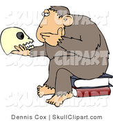 "Vector Clip Art of an Intelligent Monkey Looking at a Human Skull in His Hand, While Sitting on a Pile of Books, a Parody of Hugo Rheinhold's ""Philosophizing Ape"" Sculpture That Was Created in 1892 by Djart"